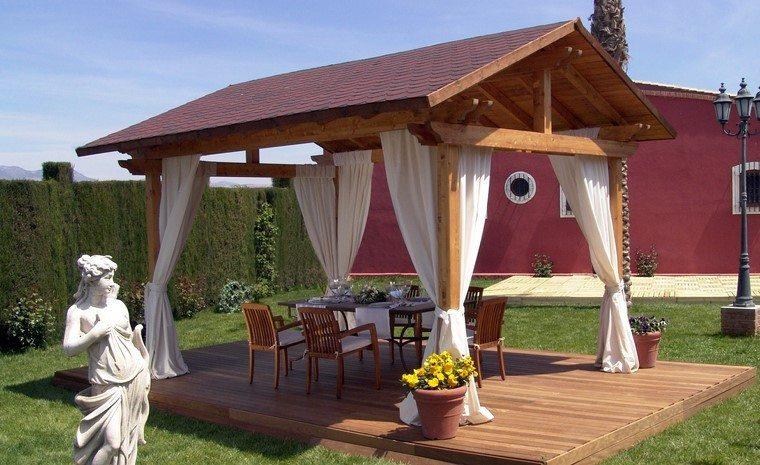 pérgolas madera lugar comidas jardin amplio ideas