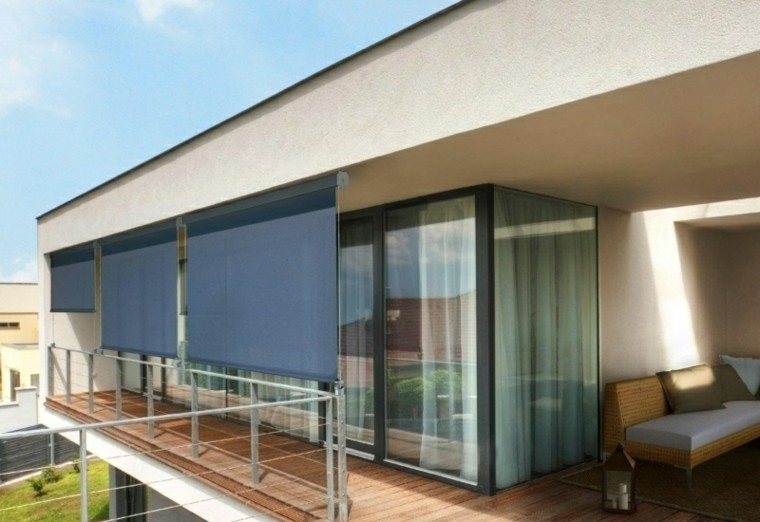 persianas negras protegen terraza sol ideas