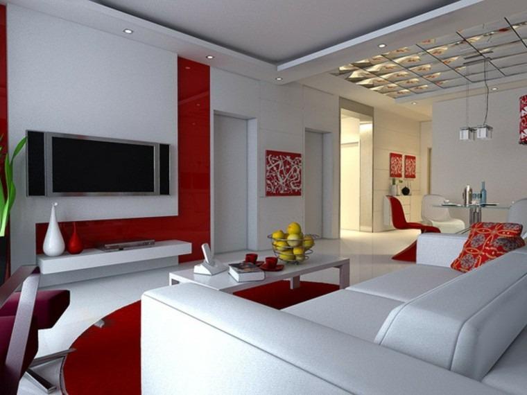 pintura diseño salon rojo gris