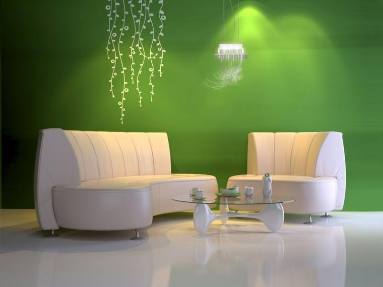 pinturas verdes salones paredes modernos