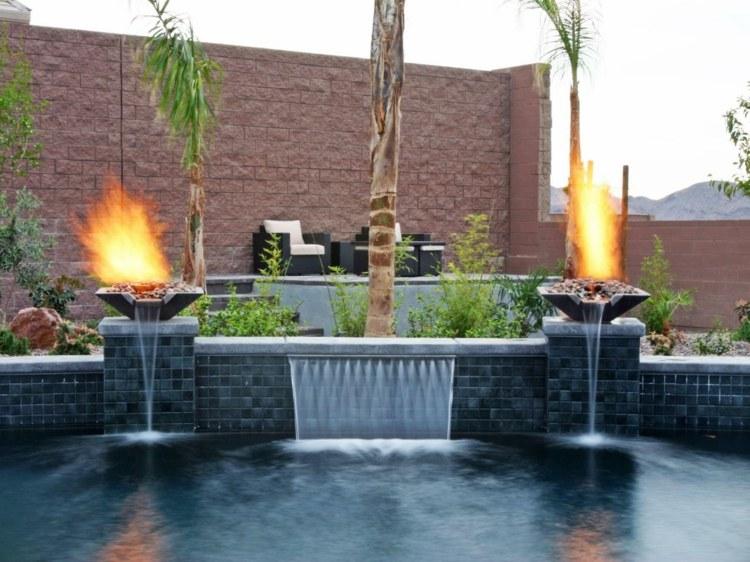 piscina caida agua platos fuego ideas