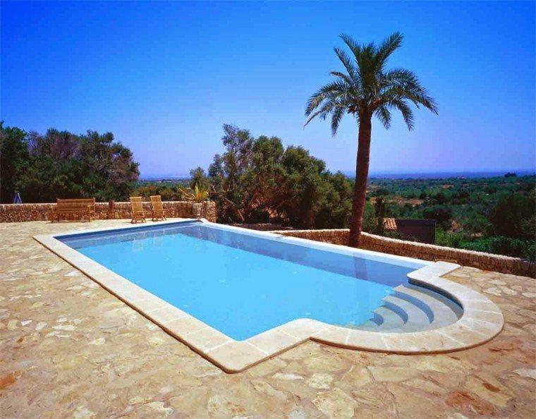 piscina casa grande palmera muebles teca suelo granito ideas