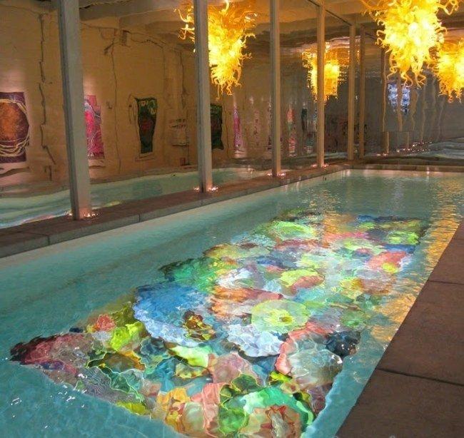 piscina cubierta dibujos colores fondo
