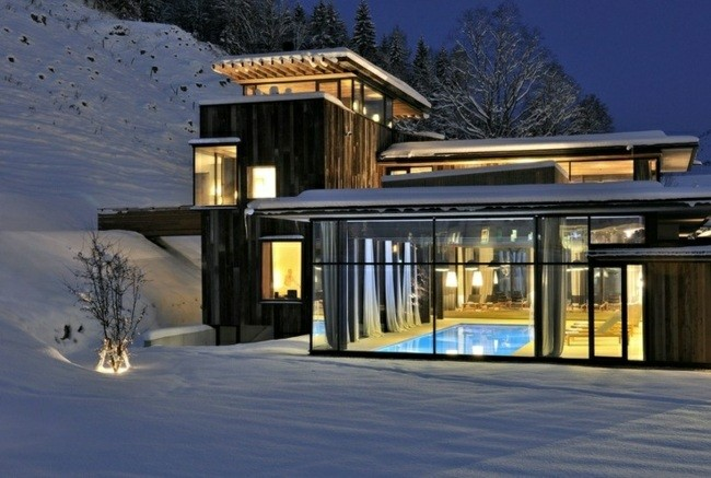 piscina cubiierta paisaje nieve invierno