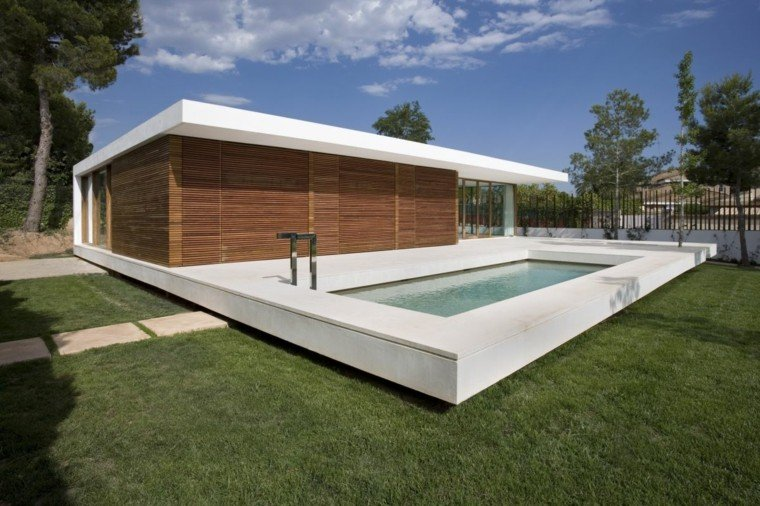 piscina flotante diseño moderno jardin