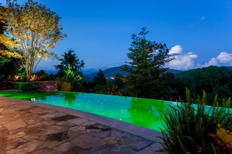 piscina iluminada jardin moderno amplio ideas