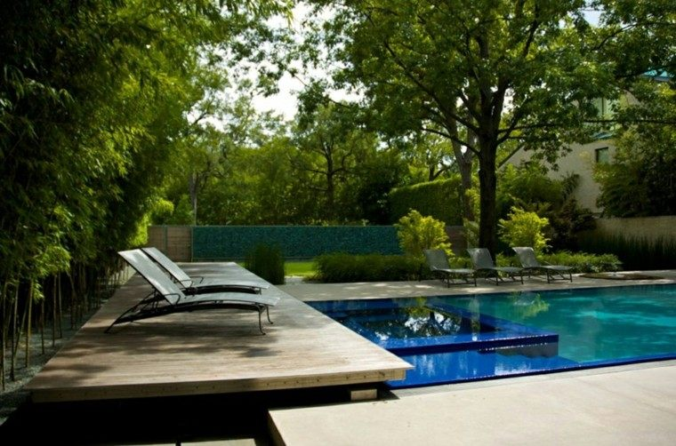 piscina jacuzzi plataforma madera tumbonas