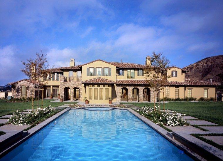 piscina-jardin casa grande preciosa espacio aire libre amplio ideas puente