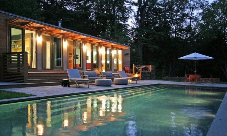 piscina jardin tumbonas taburetes amplia escaleras ideas
