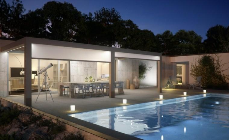 piscina mesa madera persianas jardin ideas