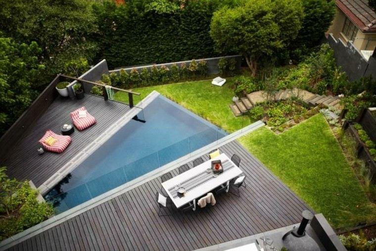 piscina original jardin suelo madera lugar comidas ideas