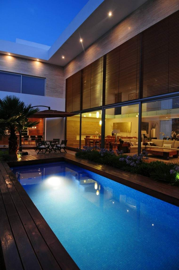 modelos de diseños paisajistas con piscina - 75 ideas