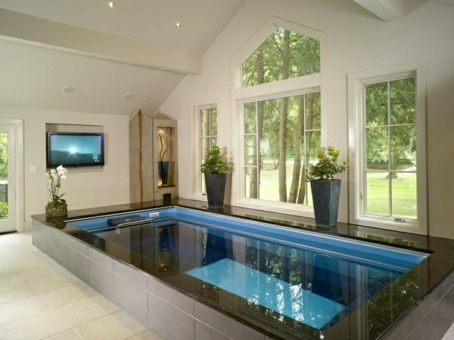 piscina pequeña cubierta televisor