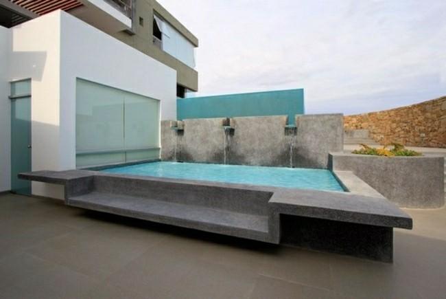 piscina pequeña fuentes agua cascadas