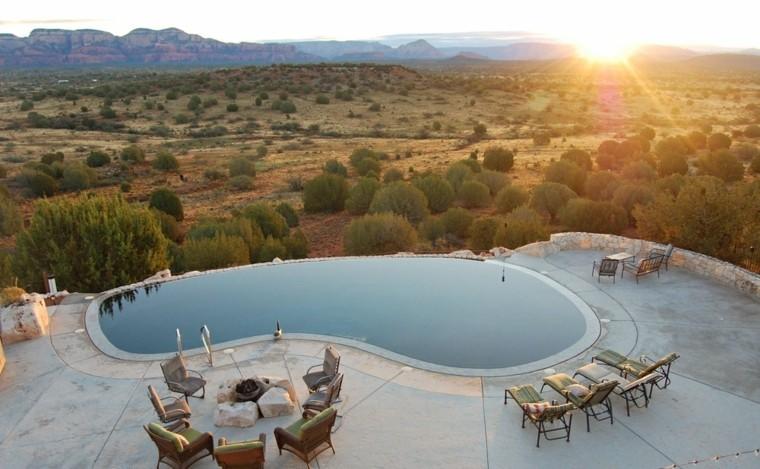 piscina terraza vista preciosa lugar fuego tumbonas ideas