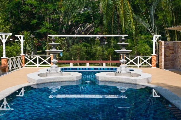 Piscina en el jard n 75 ideas para refrescar el verano - Decoracion de jardines con piscina ...