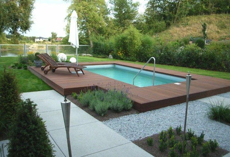 piscinas diseño lamparas jardin antorchas