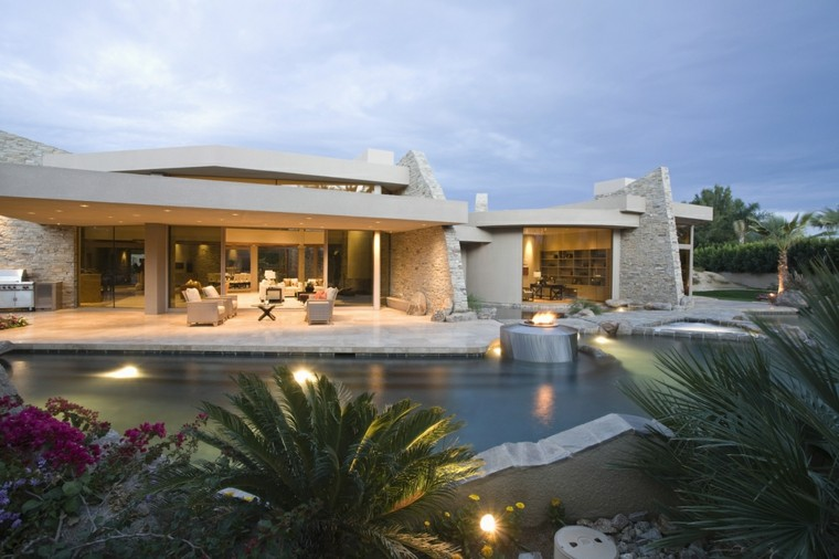 piscinas jardin amplio casa lugar fuego ideas