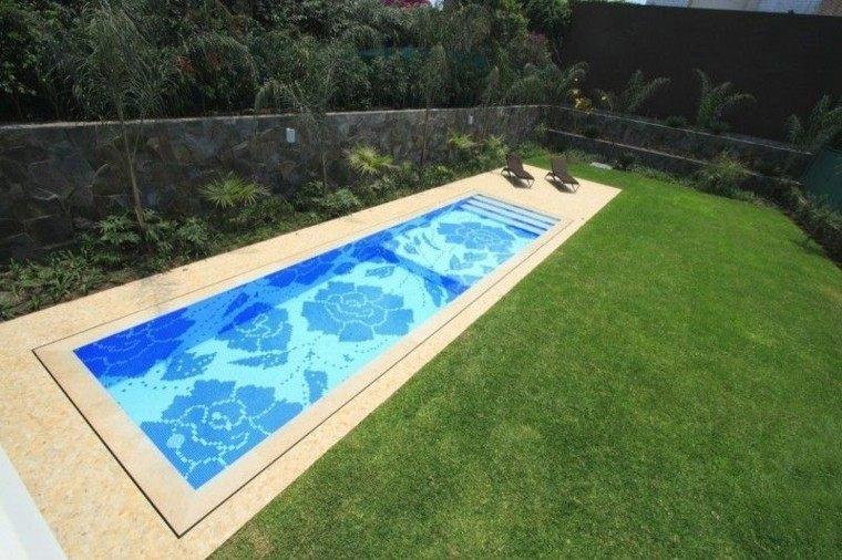 piscinas jardín cesped mosaico fondo ideas