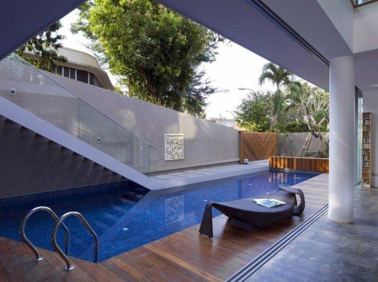 piscinas jardín escaleras tumbona original ideas