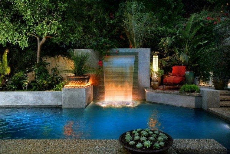 piscinas jardín fuente original iluminada ideas