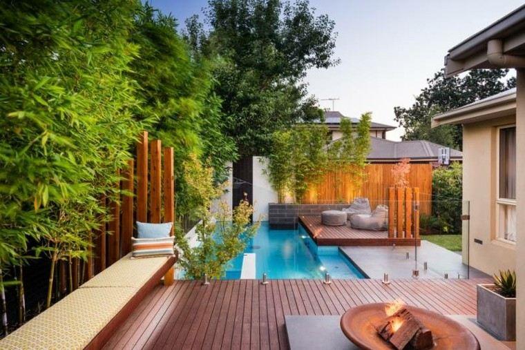 piscinas jardin lugar fuego banco ideas
