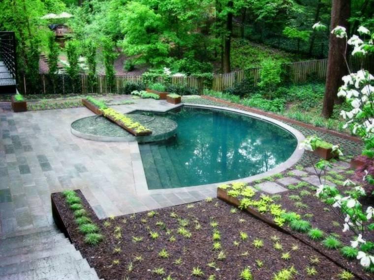 piscinas jardín plantas flores arboles ideas