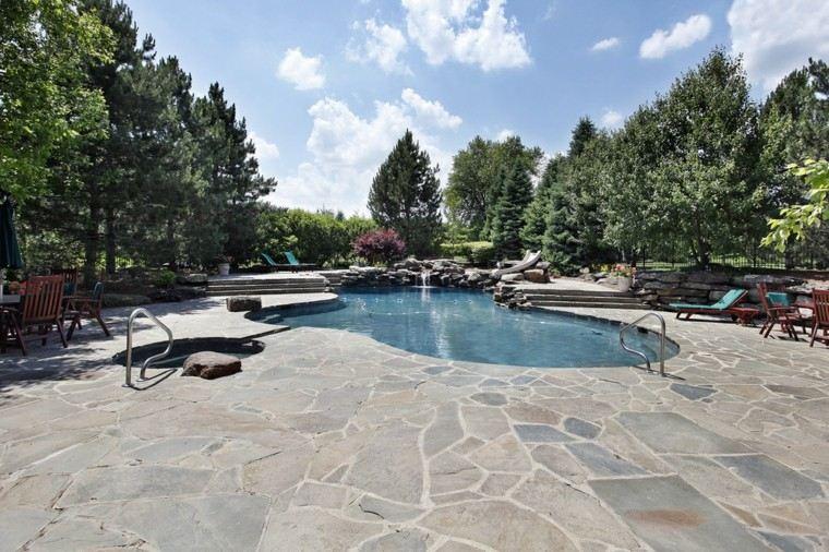 piscinas jardin suelo piedras estilo moderno ideas