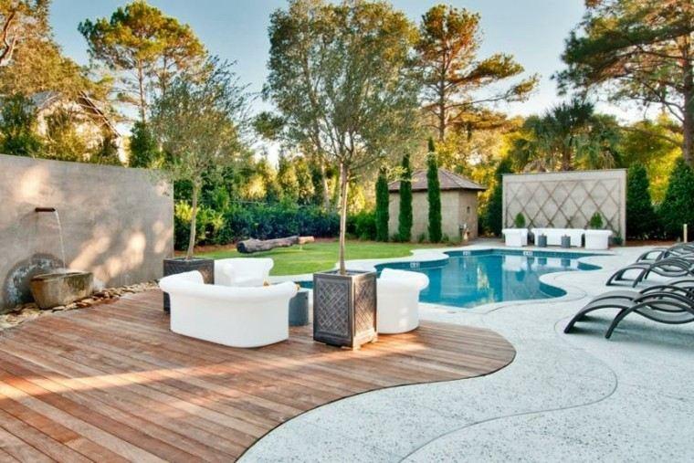 piscinas jardín tumbonas macetas arboles ideas