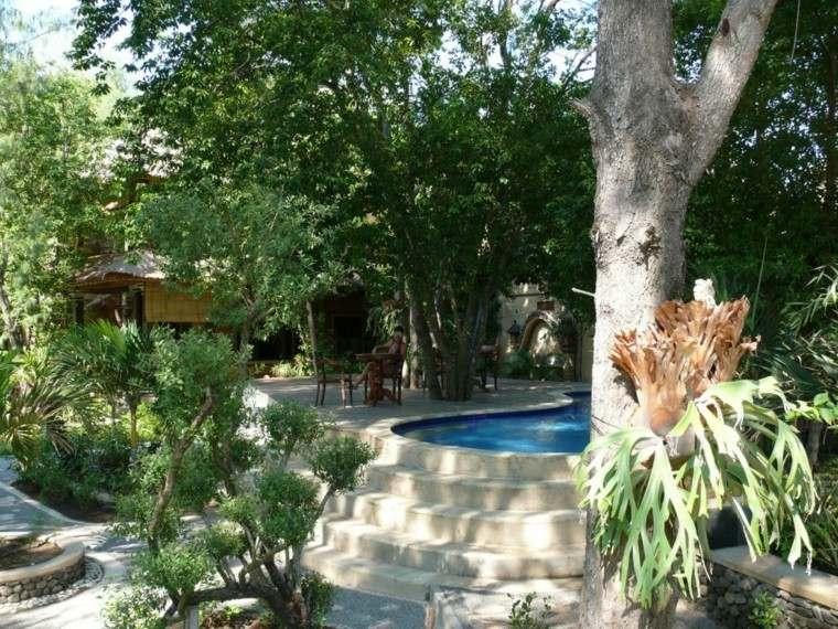 pools gardens trees shade vegetation
