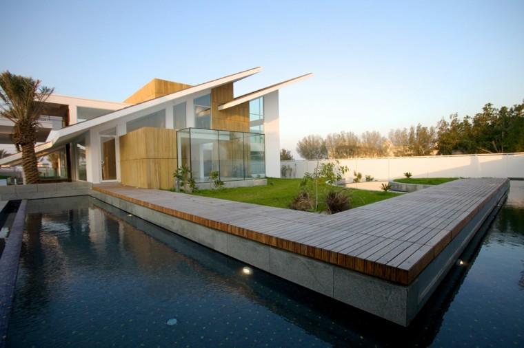 pools gardens modern patio spotlights
