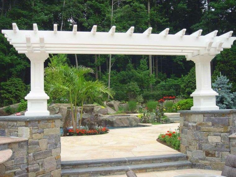 natural white pergola gardens pools