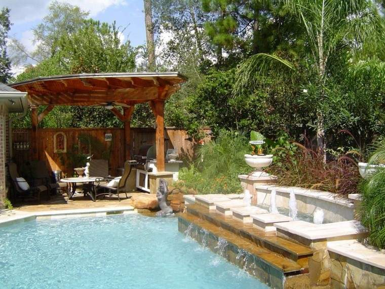 pools gardens pergola wooden chairs