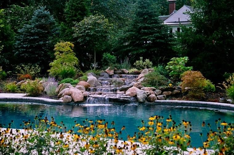 pools gardens rocks yellow flowers