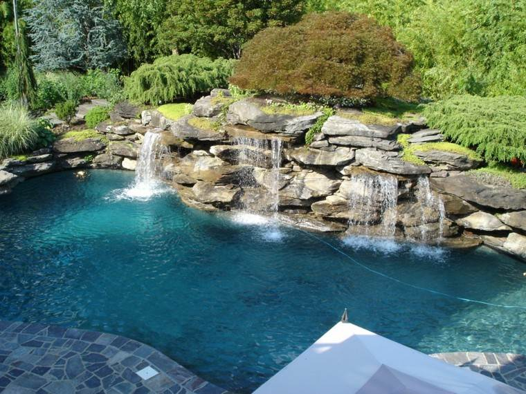 pools gardens natural rocks waterfall