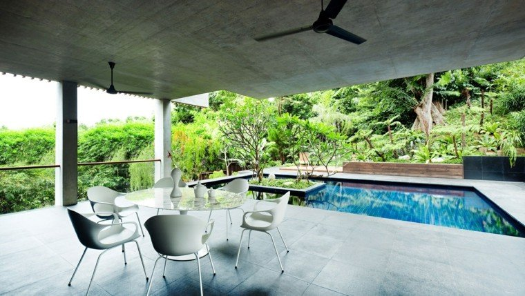 pools gardens fan concrete chairs