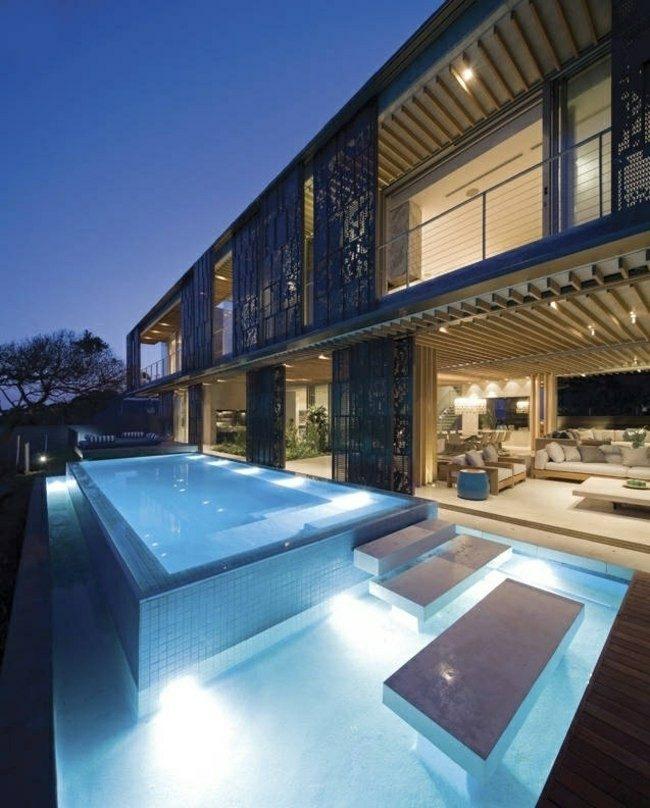 piscinas modrnas exterior mosaico escaleras