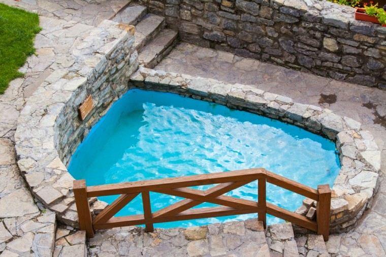 piscinas pequenas jardin estilo rustico suelo piedras ideas