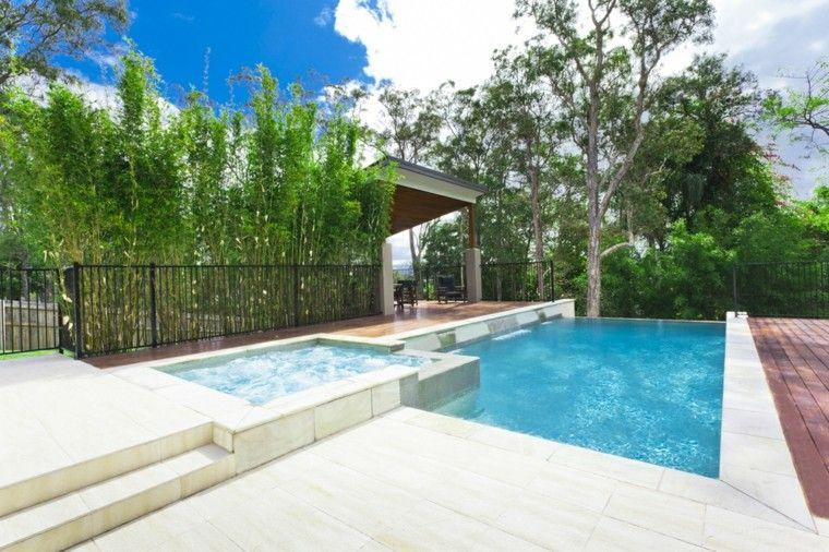 piscinas pequenas jardines jacuzzi pergola terraza ideas