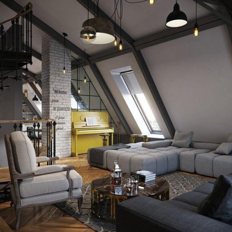 Pisos peque os con paredes de ladrillo y dise o moderno - Diseno pisos pequenos ...