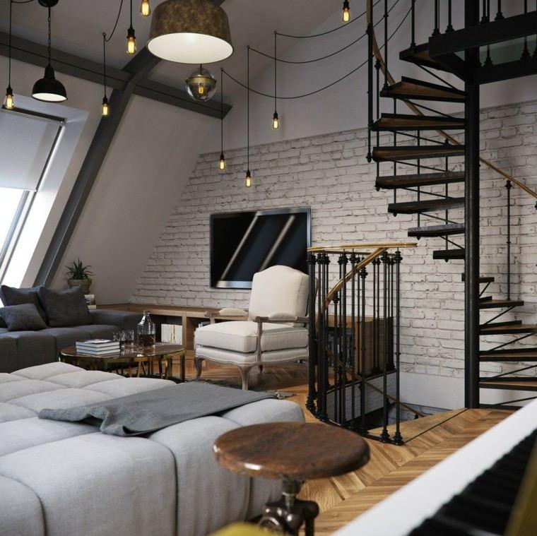 Pisos peque os con paredes de ladrillo y dise o moderno - Diseno de pisos ...