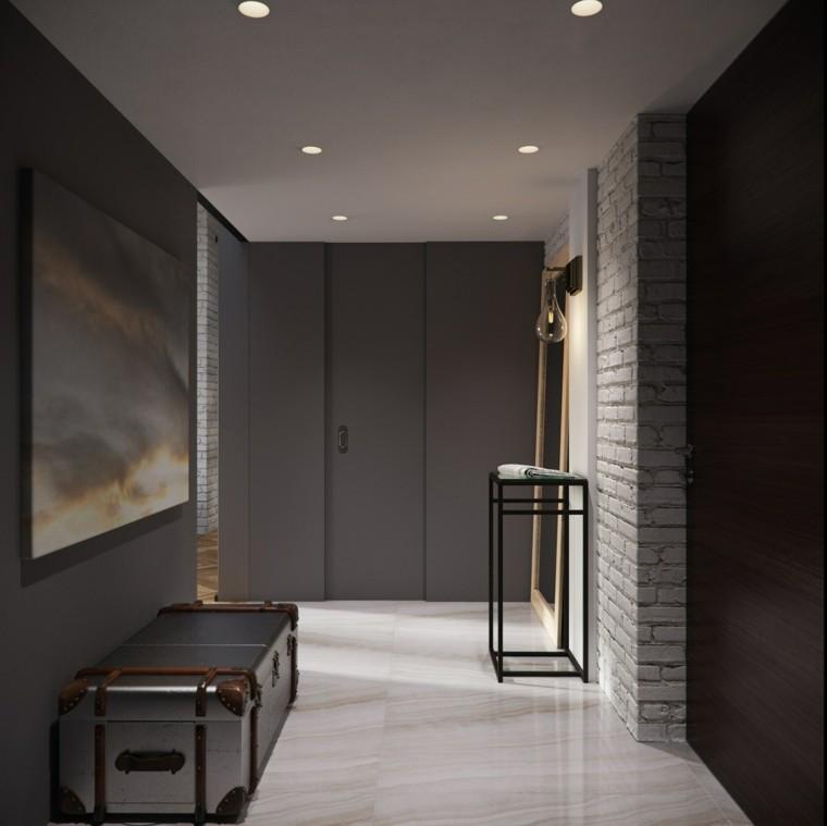 Pisos peque os con paredes de ladrillo y dise o moderno for Pisos de granito blanco