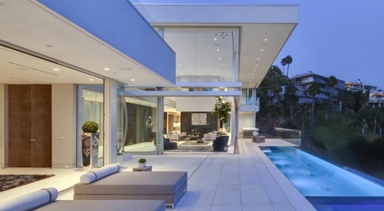 plantas moderno espacio tumbonas piscina