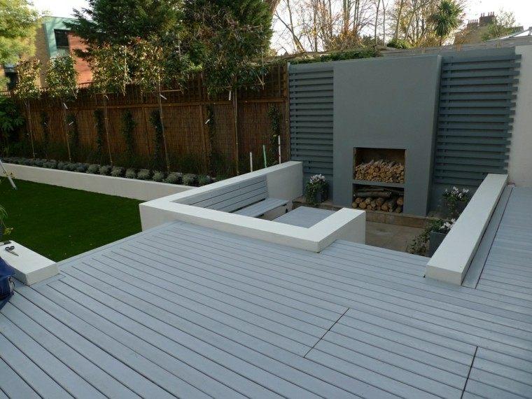 plataforma chimenea color jardin gris