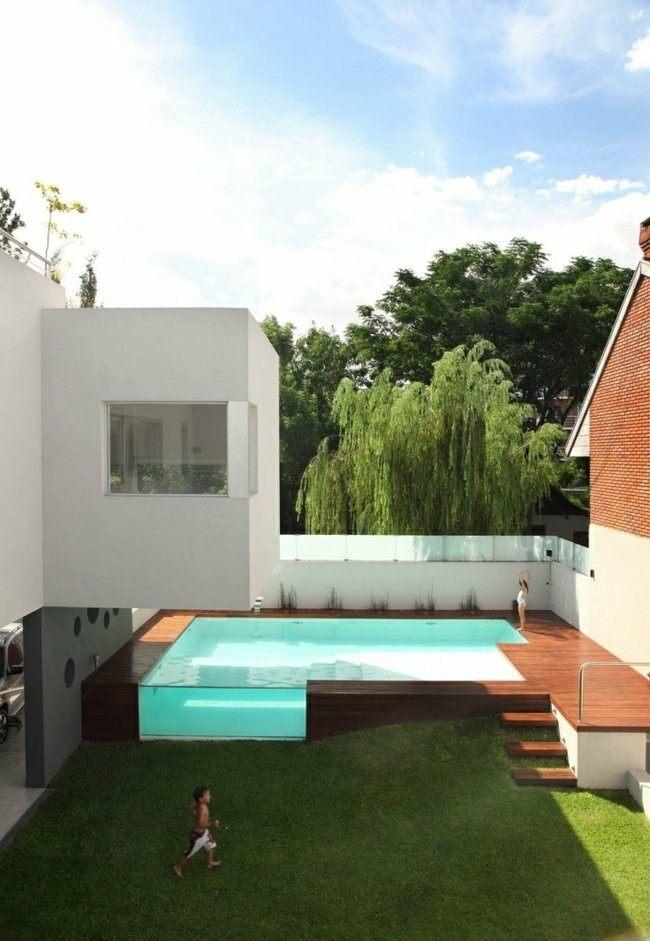 plataforma madera teca piscina moderna