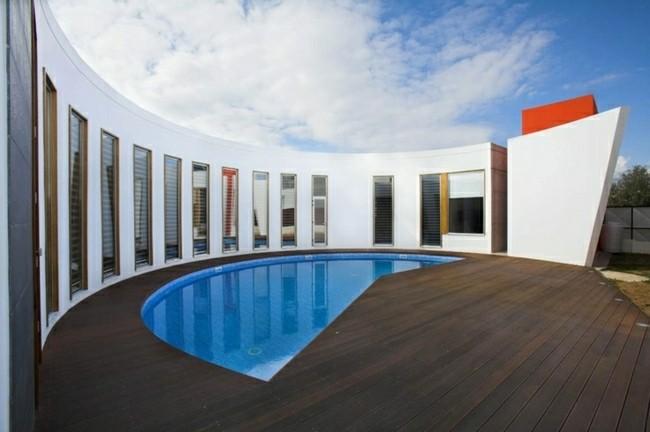plataforma madera piscina media luna