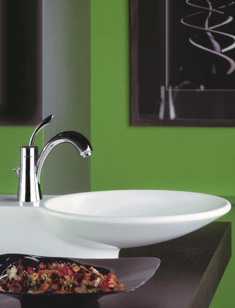 Accesorios Baño Verde:accesorios baños pequeños plato petalos flores secas pared verde
