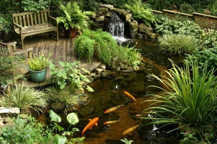 plazoleta estanque koi cascada banco