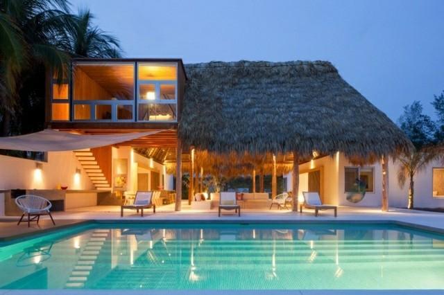 porche piscina tejado paja