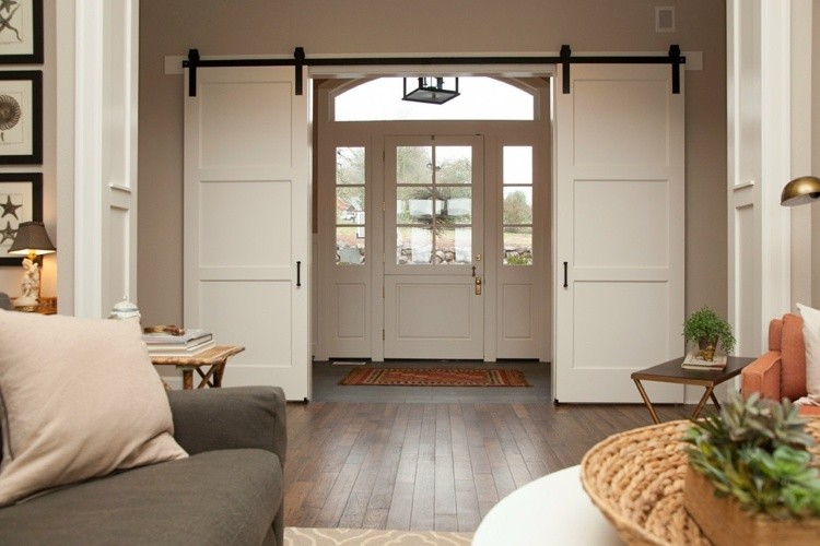 puerta corredera granero blanca metal